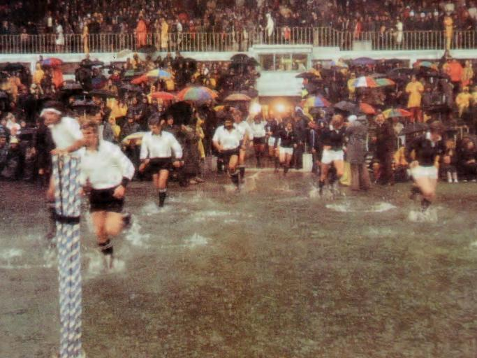 Onto the field they come for the 'Water Polo' test; New Zealand v Scotland in Auckland 1975.